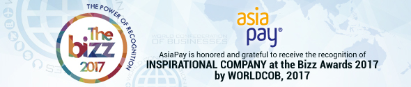 AsiaPay is honored and grateful to receive the recognition of INSPIRATIONAL COMPANY at the BIZZ Awards 2017 by WORLDCOB, 2017