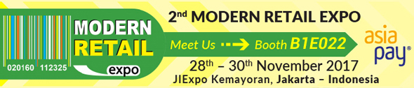 MODERN RETAIL EXPO 2017, Nov 28th-30th 2017 - Jakarta International Expo, Kemayoran-Indonesia - AsiaPay - SEE US AT BOOTH B1E022