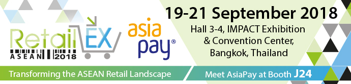 19-21 September 2018, IMPACT Exhibition and Convention Center, Bangkok, Thailand - AsiaPay Booth J24