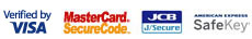 Verified by Visa logo / MasterCard Secure Code logo / JCB Secure logo / American Express SafeKey logo