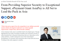 AsiaPay named one of 50 Most Valuable Brands of The Year 2018 by The Silicon Review.